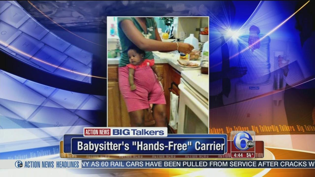 Babysitter gets creative with baby to make a sandwich