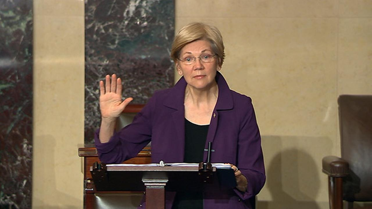 In this image from Senate Television, Sen. Elizabeth Warren, D-Mass., speaks on the floor of the U.S. Senate in Washington, Feb. 6, 2017.