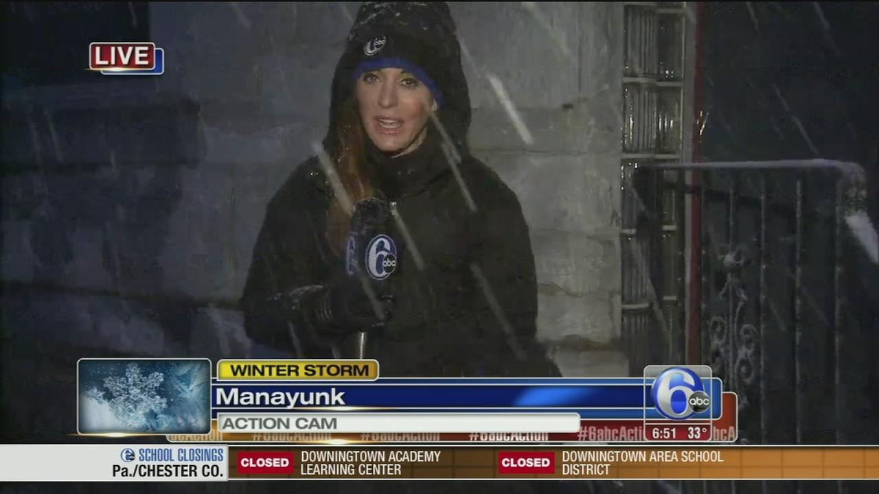 VIDEO: Rain, sleet and snow falls in Manayunk
