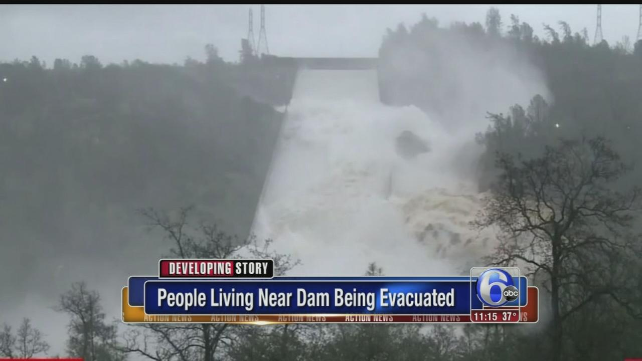 Thousands evacuate as California dam spillway expected to fail