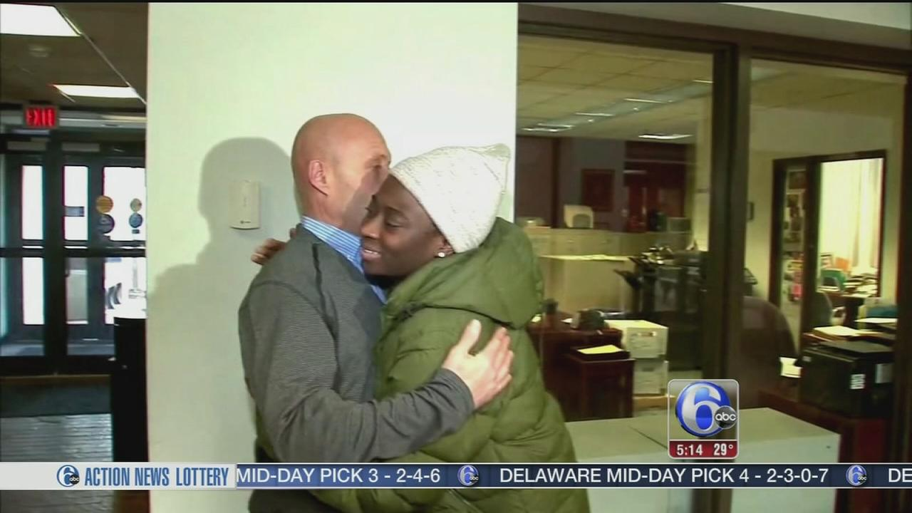 Woman thanks man who rescued her from icy pond
