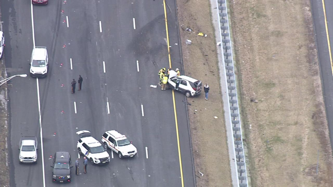 Chopper 6 was over the scene of a multi-vehicle crash on Interstate 95 in Hopewell Twp., Mercer County on Tuesday, February 14, 2017.
