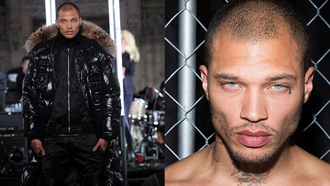 Jeremy Meeks, the model who was referred to as the hot felon, walks in the Philipp Plein fashion show, Monday, Feb. 13, 2017, in New York.