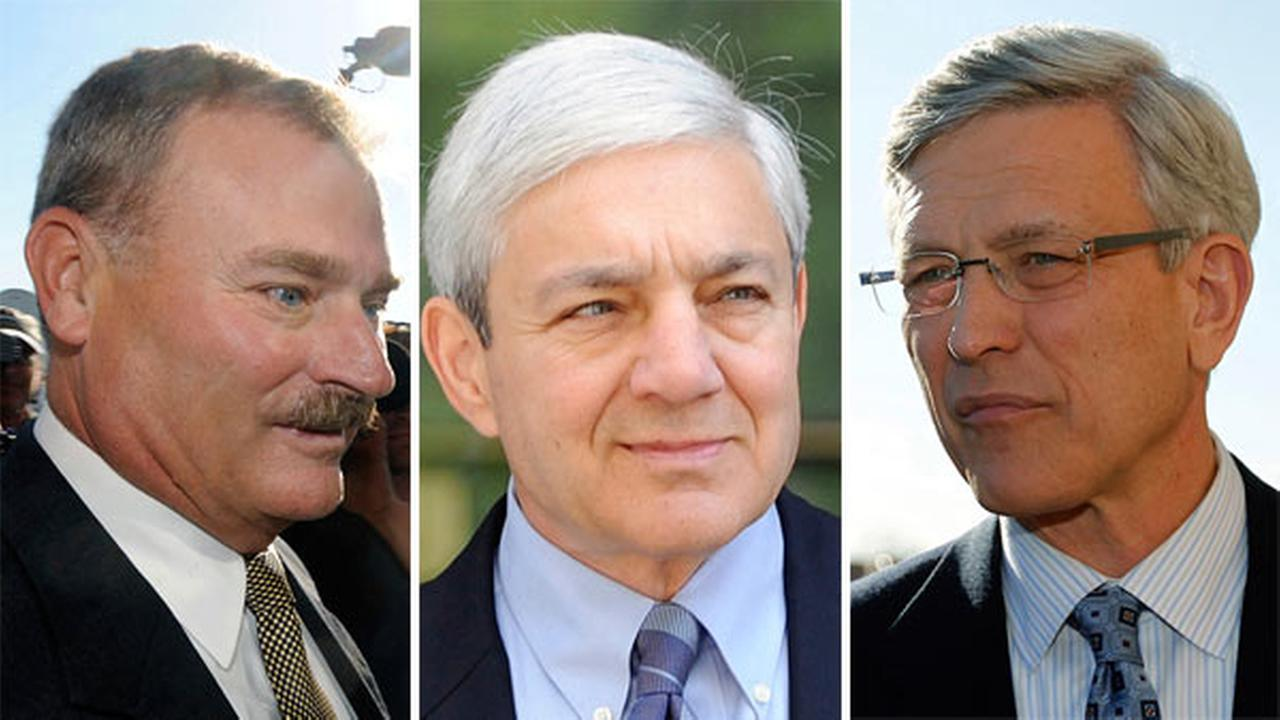 Fmr. Penn State Vice President Gary Schultz left former Penn State Director of Athletics Tim Curley right and former Penn State president Graham Spanier center