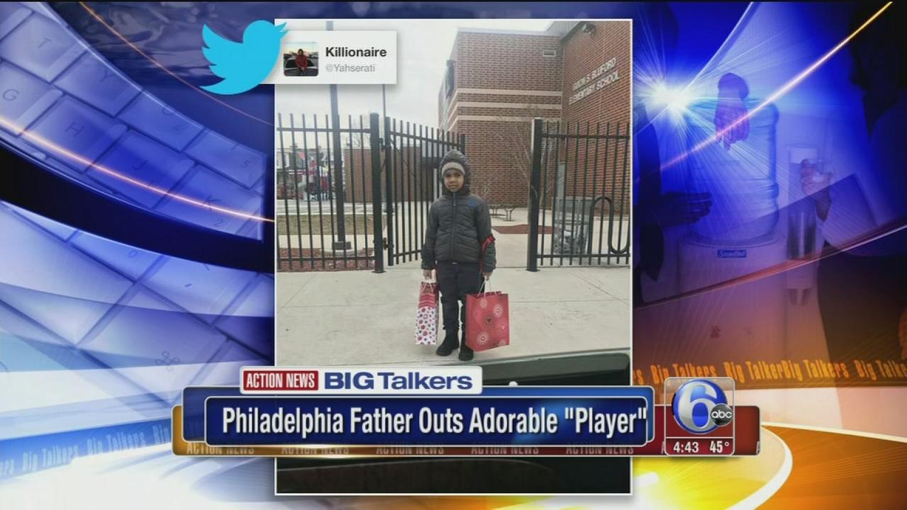 Philly dad shares pic of son going to school with two Valentines Day gifts