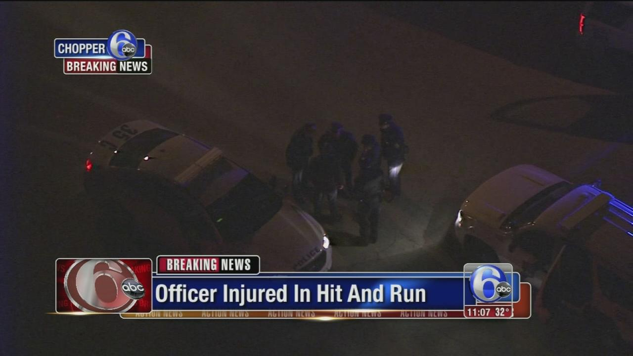 Officer injured in hit-and-run