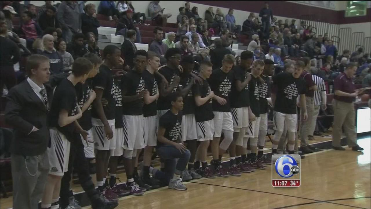 Lower Merion H.S. basketball team stand in solidarity with marginalized groups