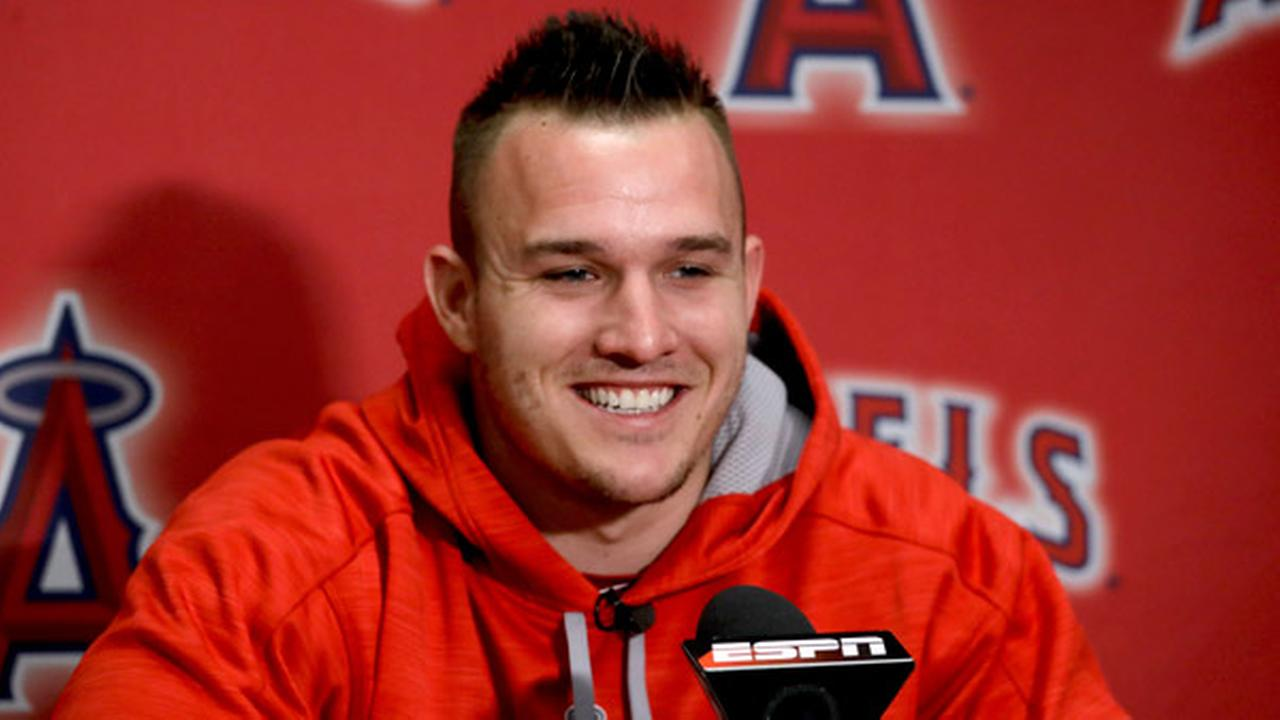 Los Angeles Angels center fielder Mike Trout speaks during a news conference at spring baseball practice in Tempe, Ariz., Saturday, Feb. 18, 2017.