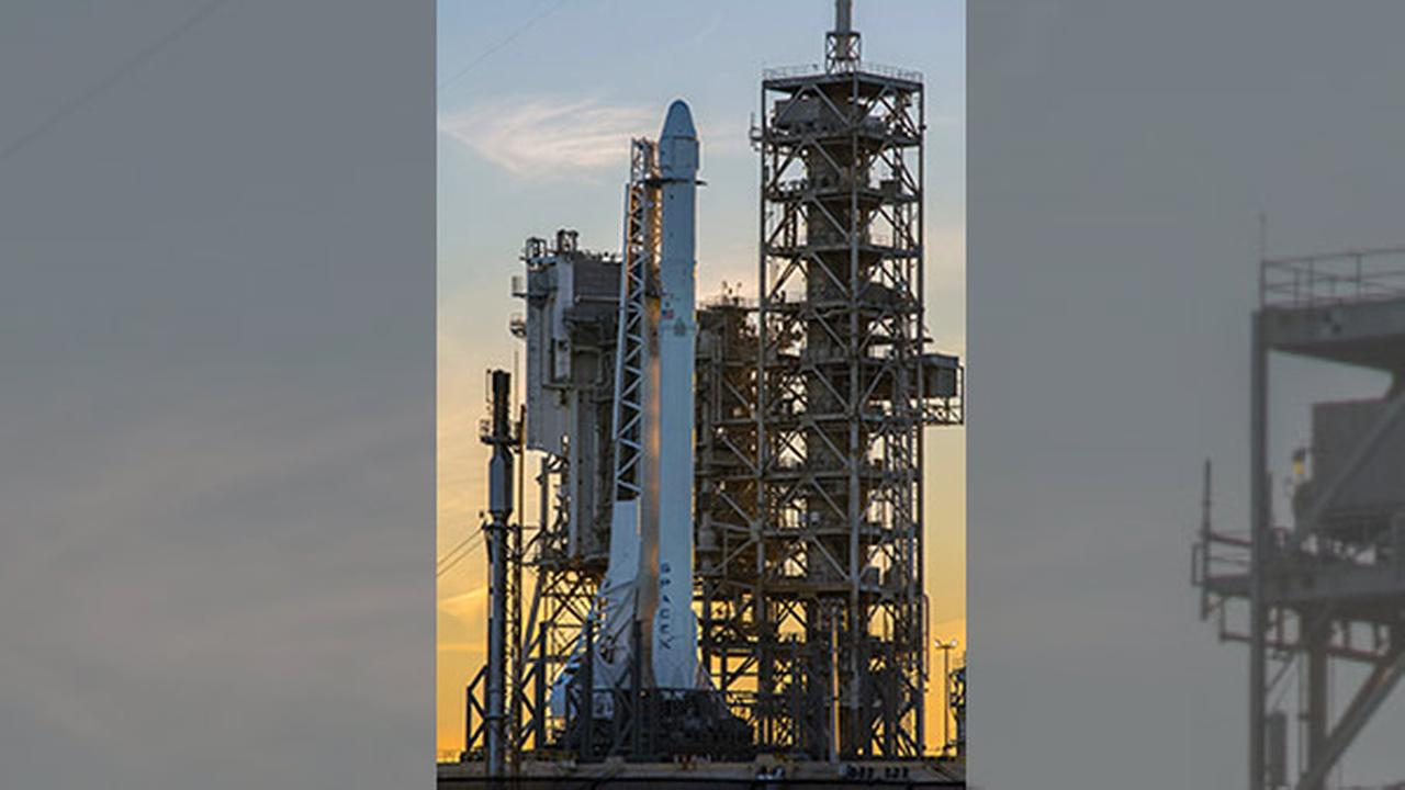 This photo provided by NASA shows a Space X Falcon9 rocket on the launch pad, Saturday, Feb. 18, 2017 at Launch Complex 39A at the Kennedy Space Center in Cape Canaveral, Fla.