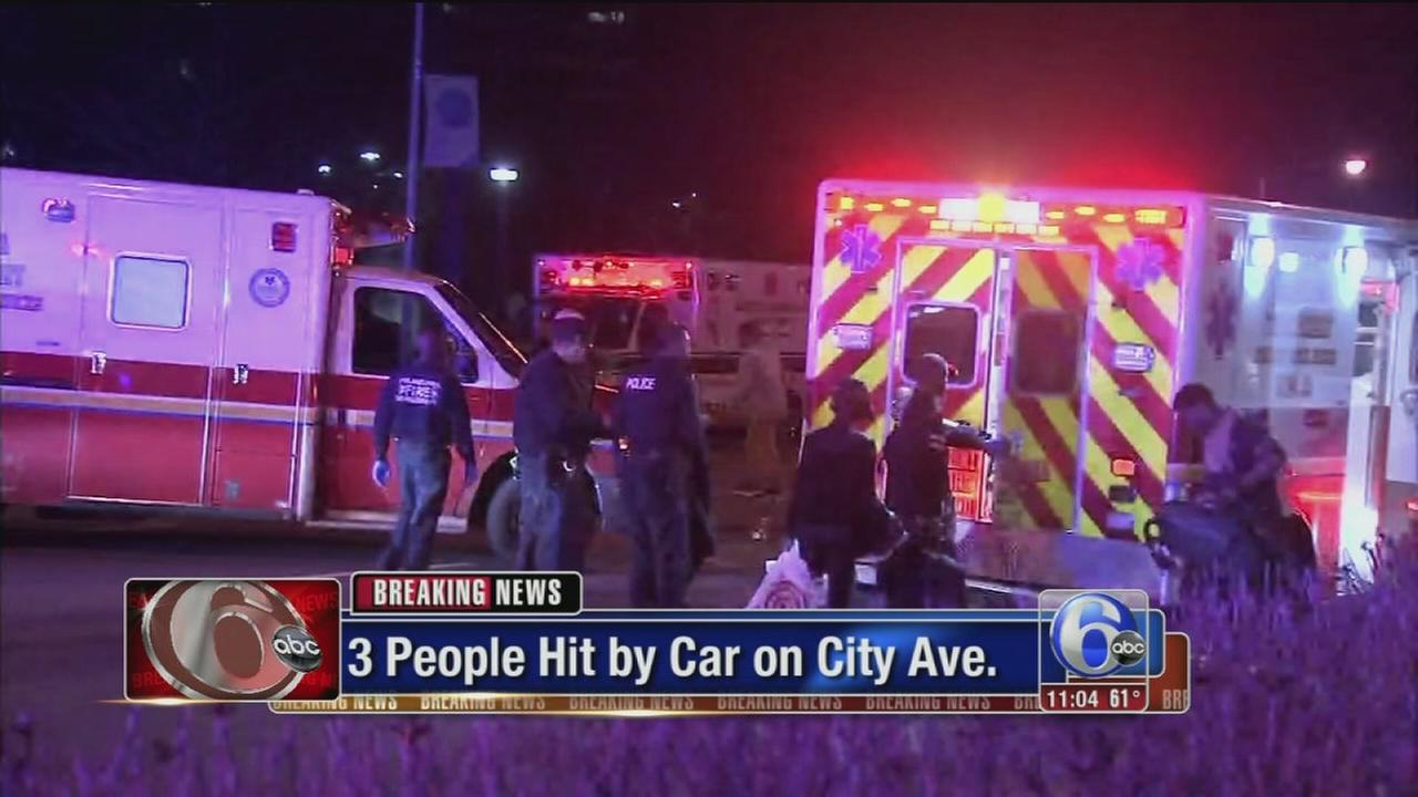 3 pedestrians struck by car on City Avenue
