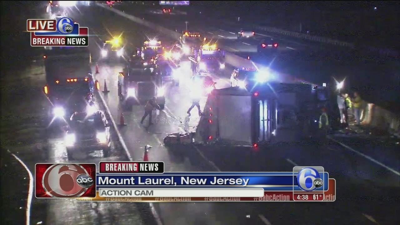 Overturned tractor trailer jams NJTP
