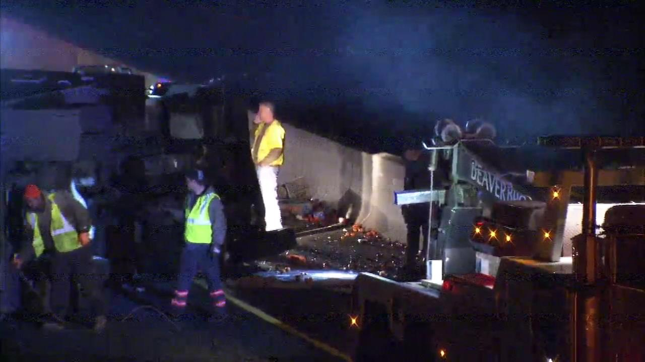 February 20, 2017: A tractor trailer overturned on the New Jersey Turnpike at 3:45 a.m. in the northbound lanes north of Exit 4 for Route 73.