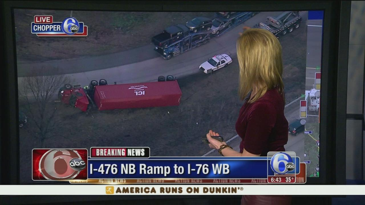 Tractor trailer overturns on I-476 ramp