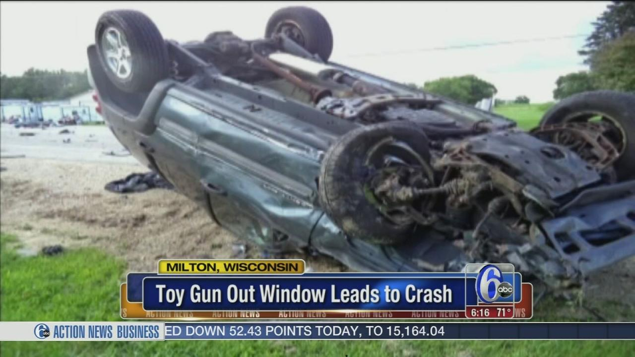 VIDEO: Toy gun blamed for three-car crash