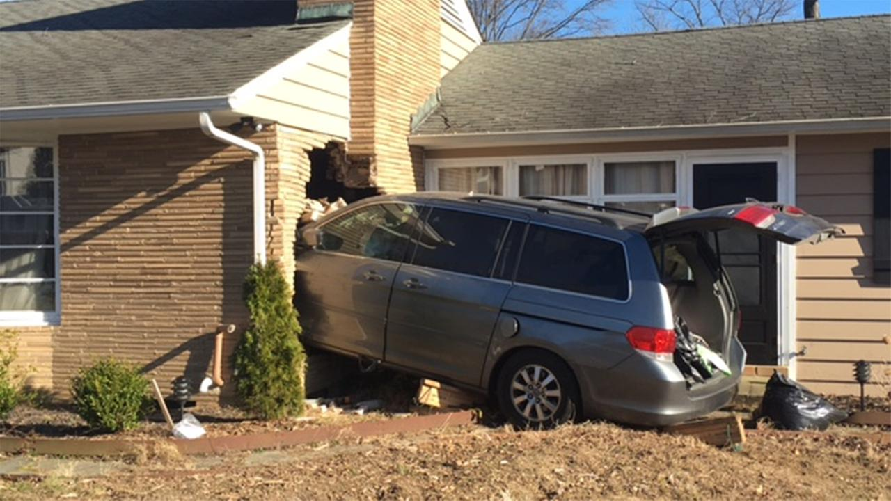 A vehicle slammed into a house on the 200 block of Bent Lane in Newark, Delaware, around 3 p.m. Thursday.