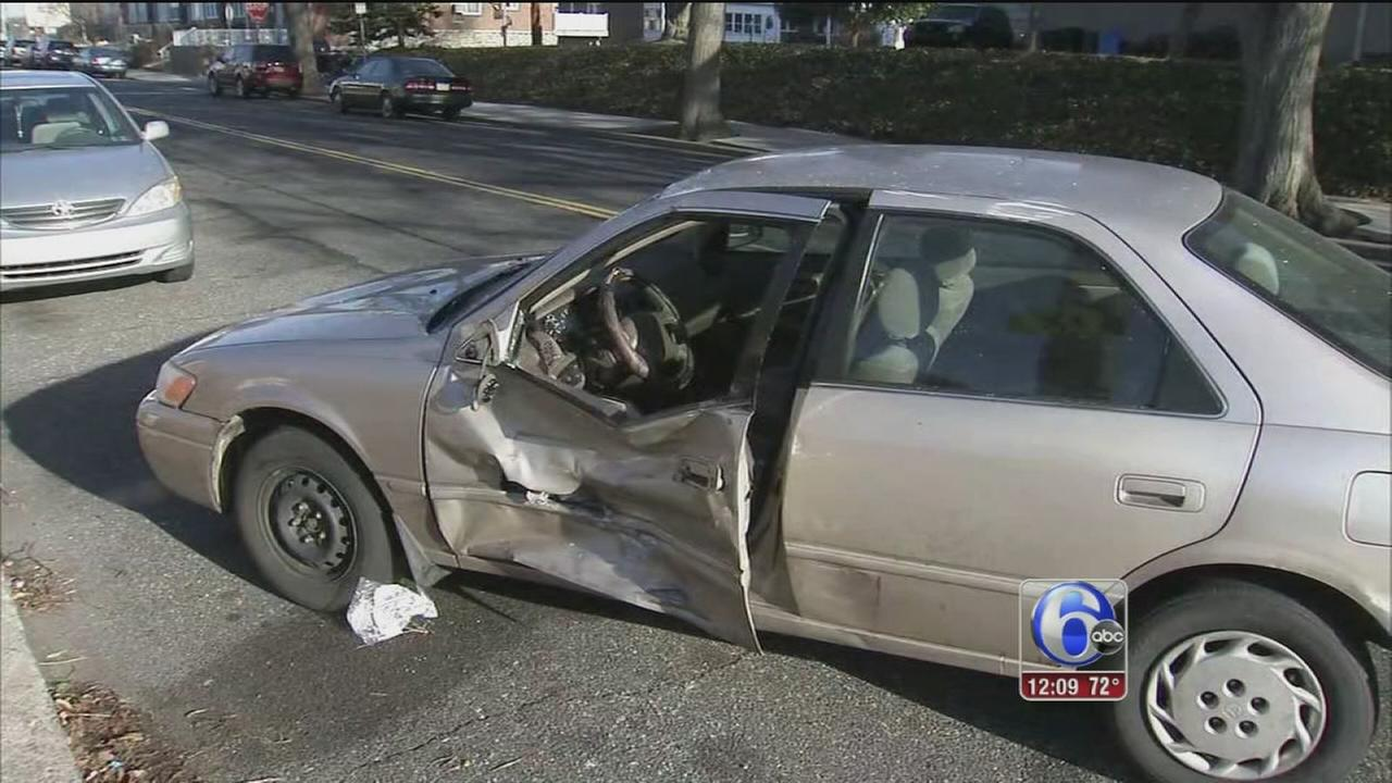 Pedestrian walking, struck after 2 vehicles crash in Lawncrest