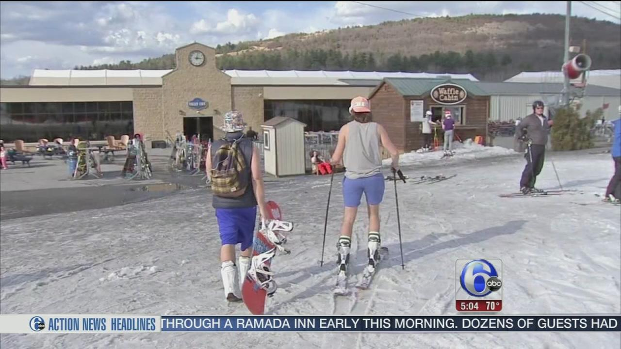 Skiers hit slopes, despite spring-like weather