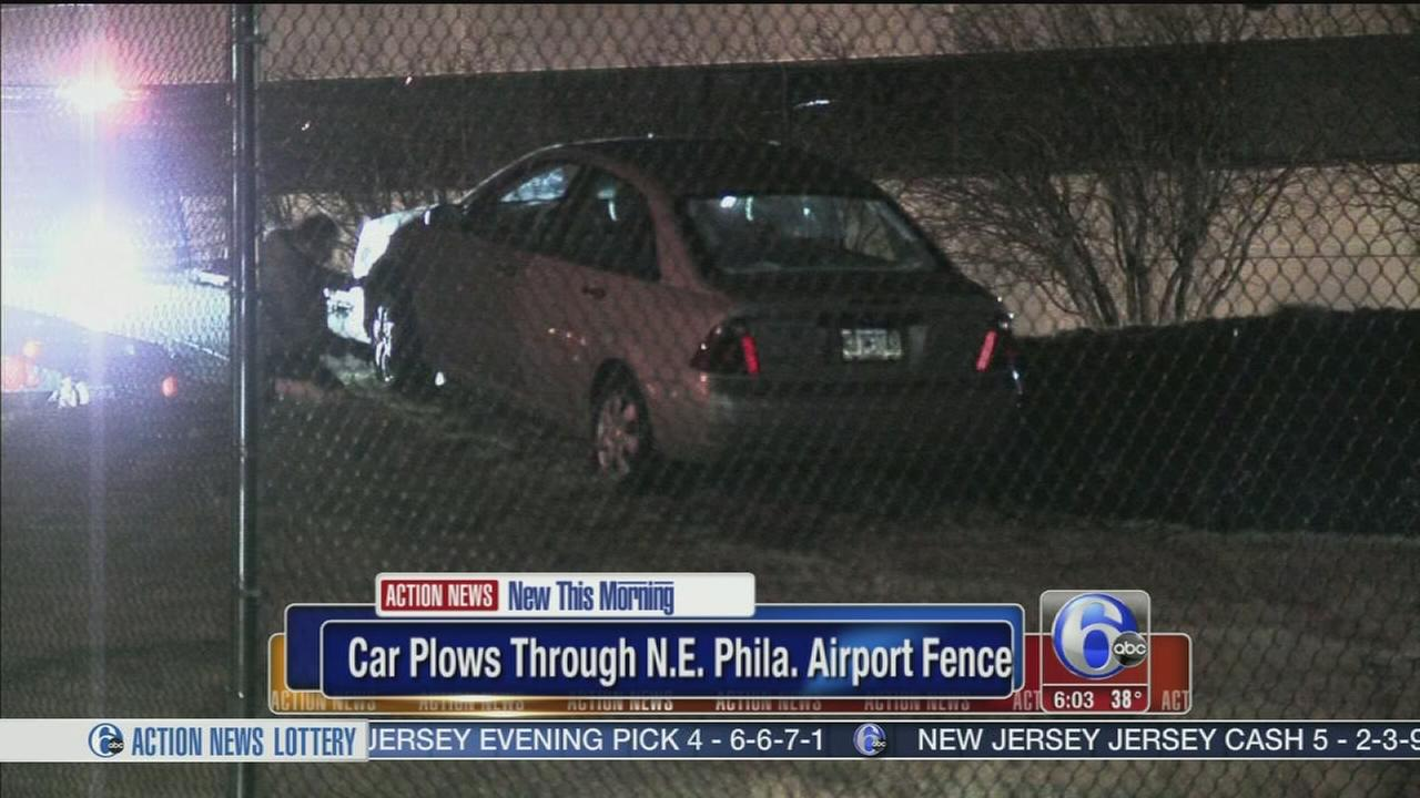 Driver smashes through NE Phila Airport fence