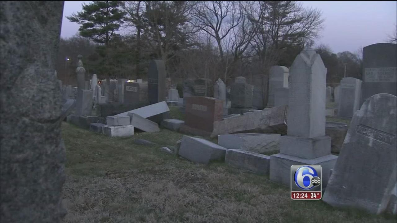 Hundreds of headstones vandalized at Jewish cemetery in Philly