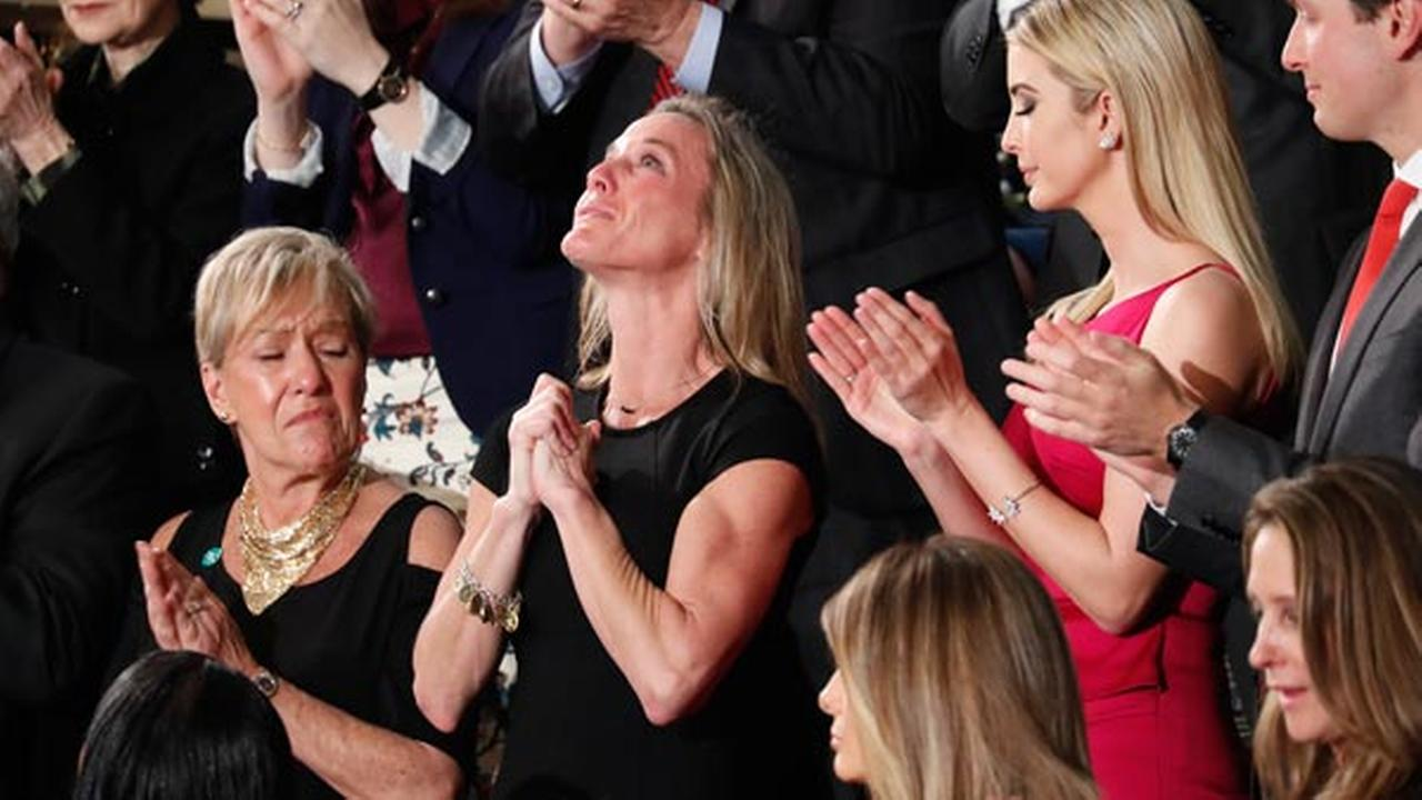 Carryn Owens, widow of Chief Special Warfare Operator William Ryan Owens, is applauded on Capitol Hill in Washington, Tuesday, Feb. 28, 2017.