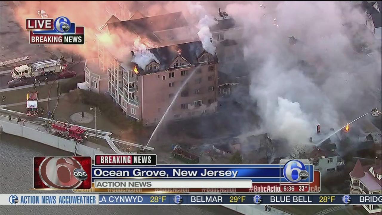 Flames erupt at Jersey Shore condominium