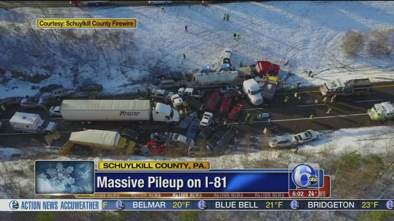 Snow squalls cause pileups, injuries