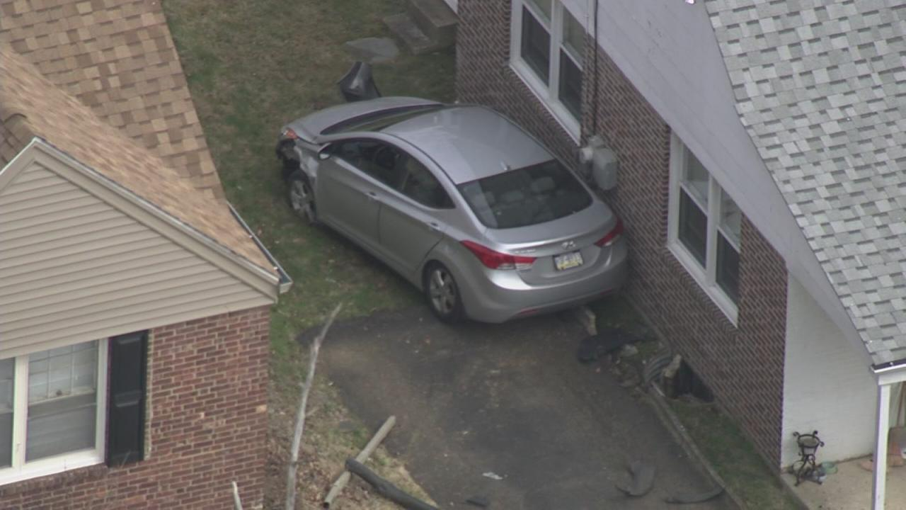 VIDEO: Car careens into home in Upper Darby