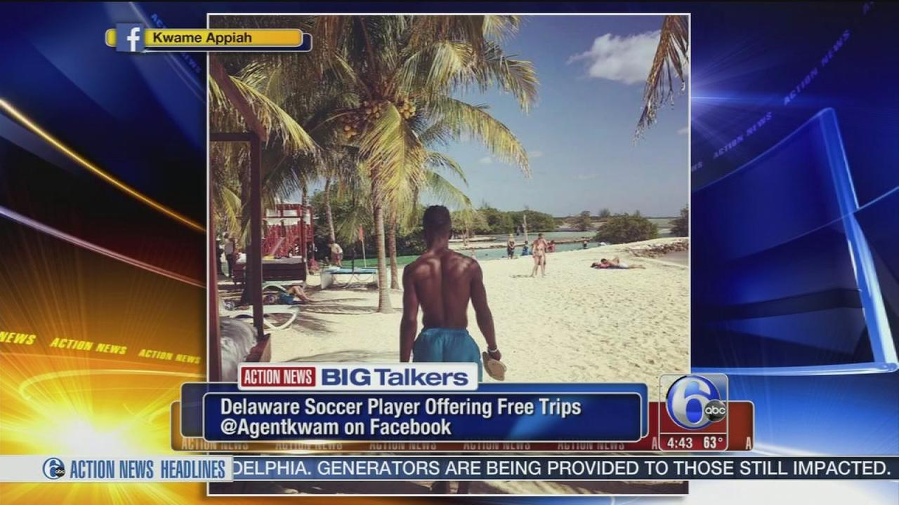 Delaware pro soccer player offering free vacations on Facebook