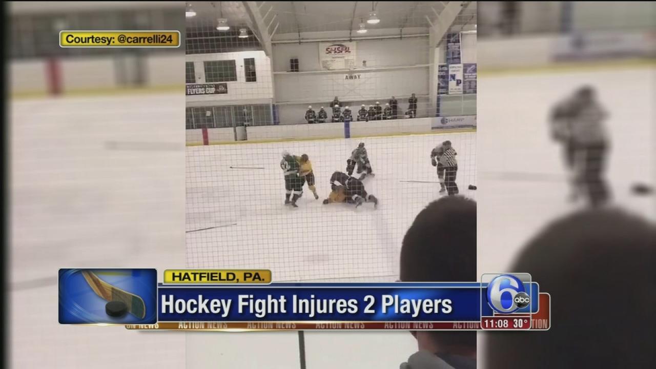 High school hockey teams, fans brawl at Hatfield ice rink