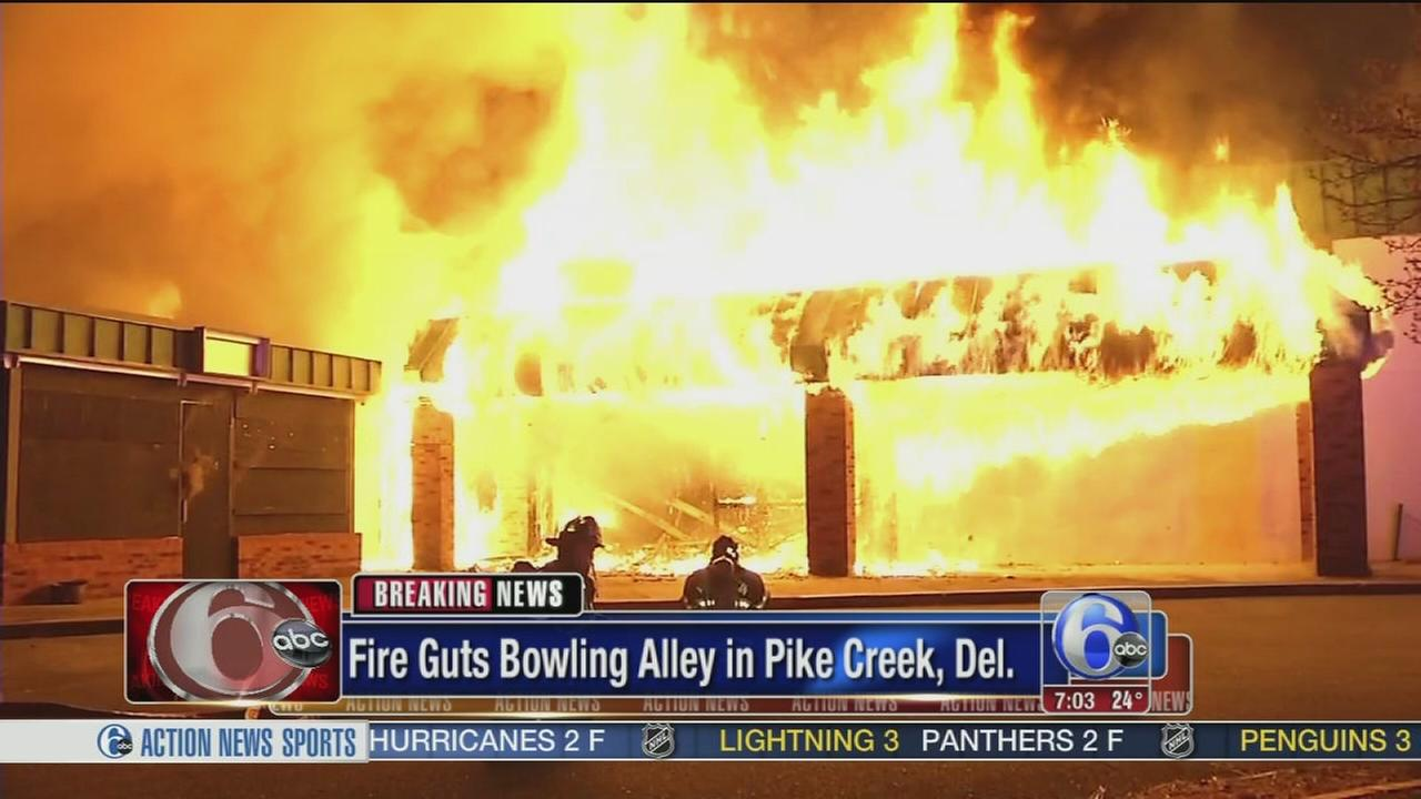 Fire erupts at closed bowling alley in Pike Creek