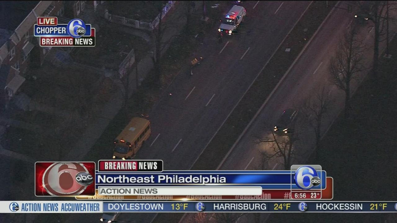 School bus hits traffic light in NE Phila.