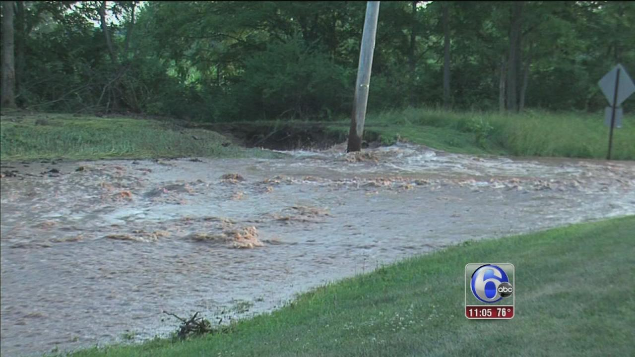 VIDEO: Water main break floods Bucks Co. roads