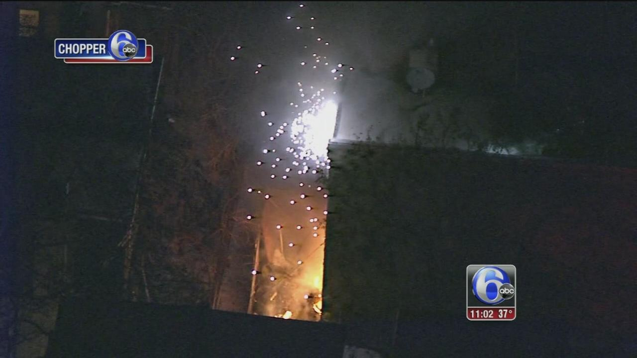Sparks fly at North Philadelphia house fire