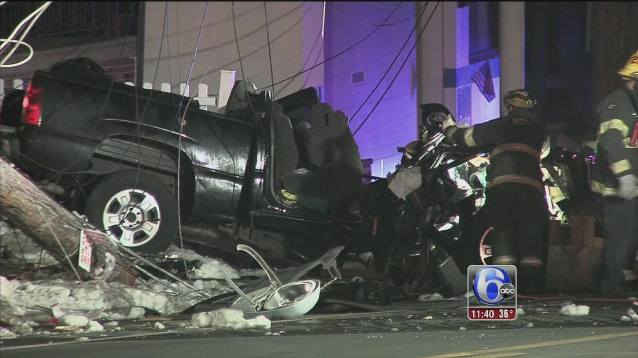 2 critical after pickup truck crashes into utility pole in Holmesburg