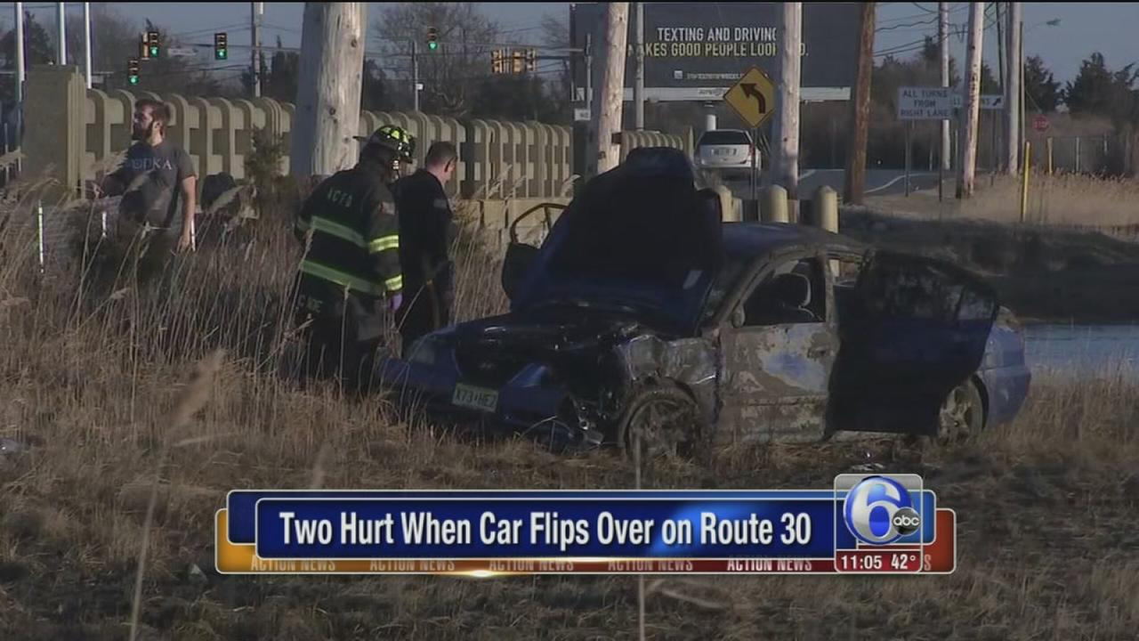 2 hurt after car flips off road, into marsh in Atlantic City