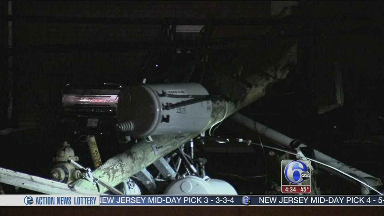 Driver crashes into utility pole in Burlington County
