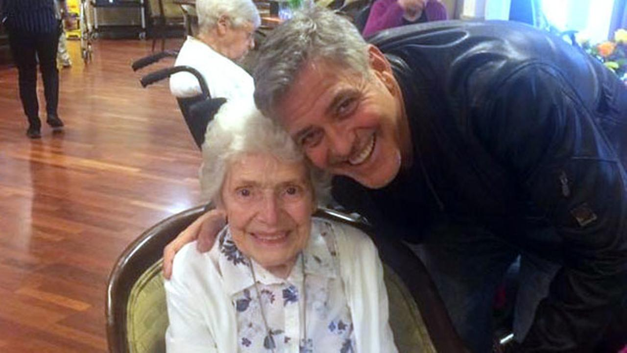Sunday, March 19, 2017, US actor George Clooney visits 87-year-old Pat Adams at Sunrise of Sonning Retirement and Assisted Living Facility in Reading, England