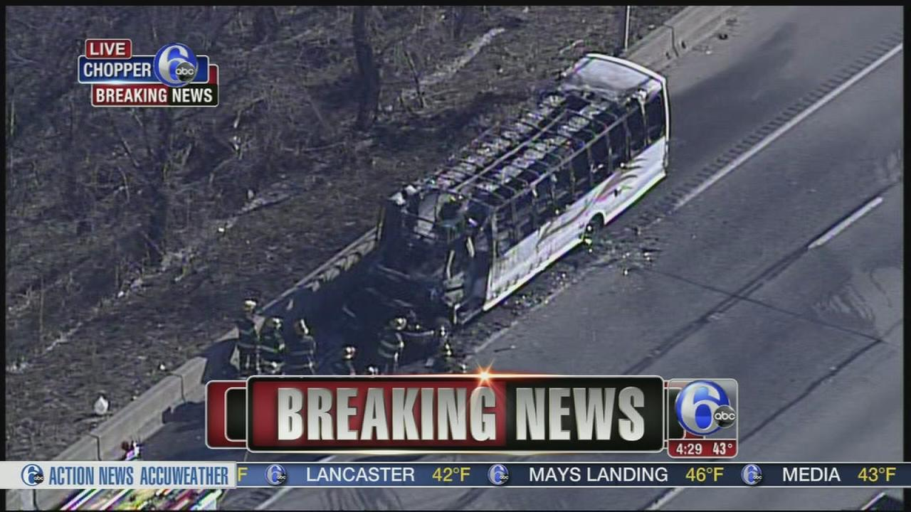 Bus destroyed by fire on Schuylkill Expressway
