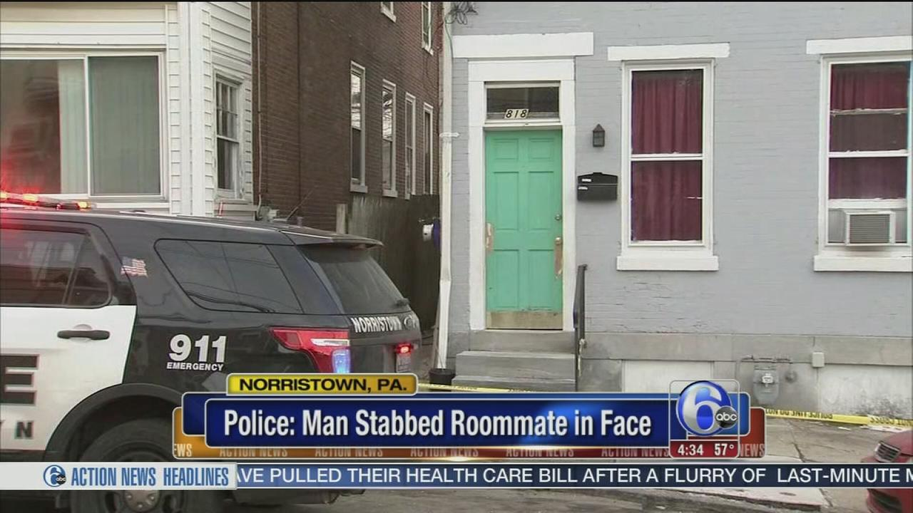 Police: Man stabbed roommate in face in Norristown