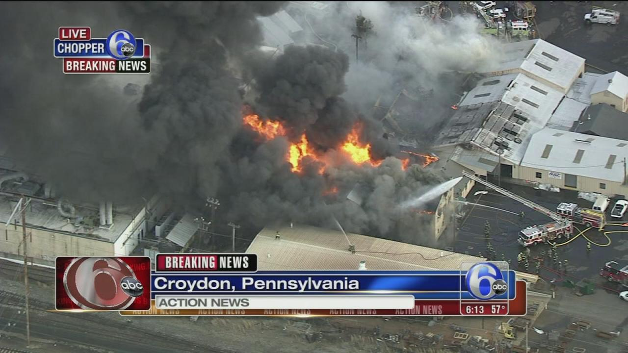Fire crews battle 3-alarm blaze in Croydon, Pa.