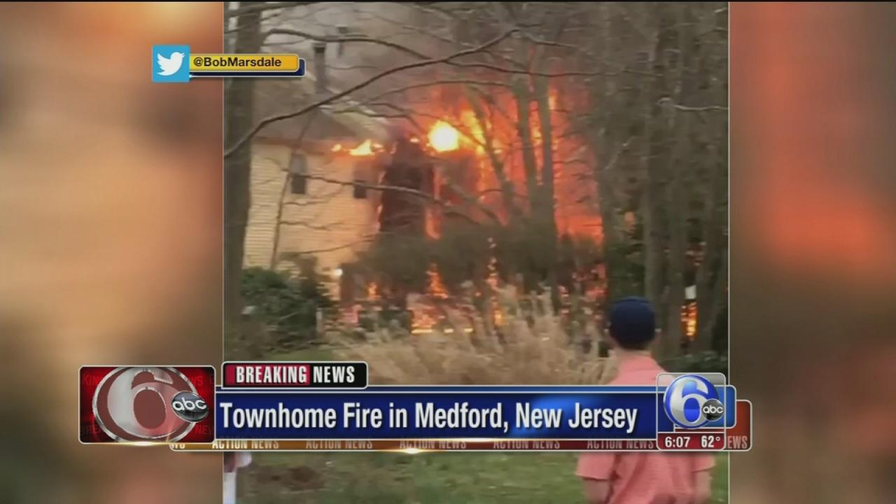 2-alarm fire damages 2 townhouses in Burlco