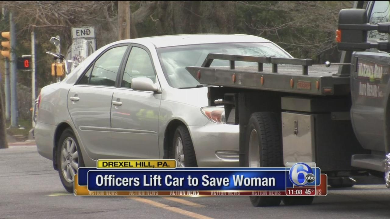 Officers lift car to save woman struck in Drexel Hill