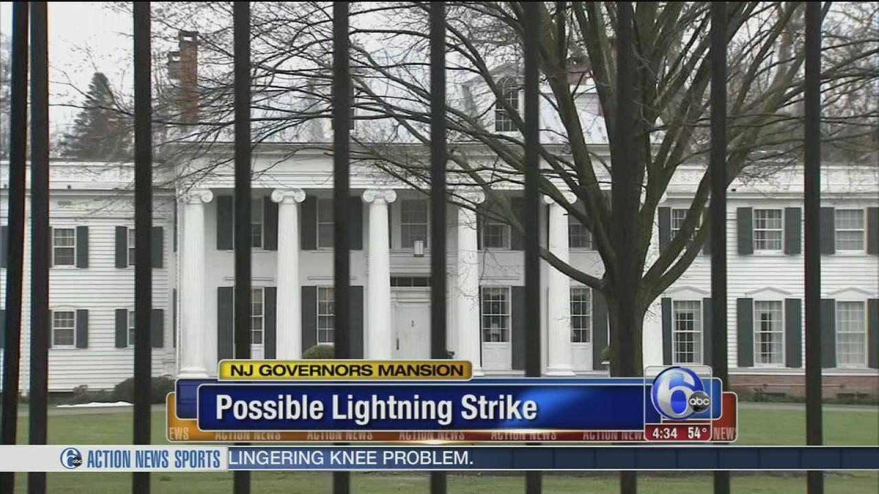 Lightning causes damage at governors mansion; no injuries