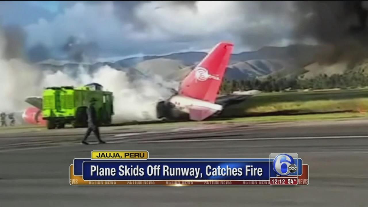 Plane bursts into flames after forced landing in Peru