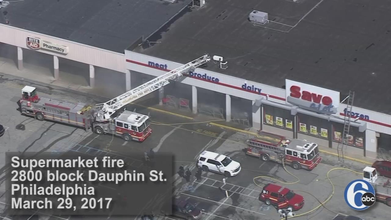 Raw video: Fire at Philadelphia supermarket