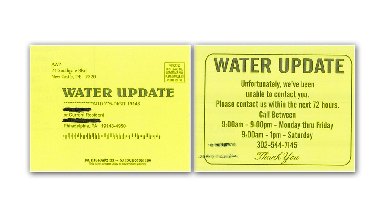 Phila. Water Dept. warns of yellow cards left at homes