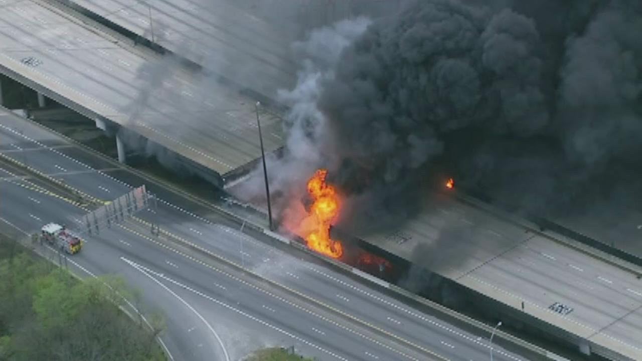Part of Atlanta interstate collapses after fire