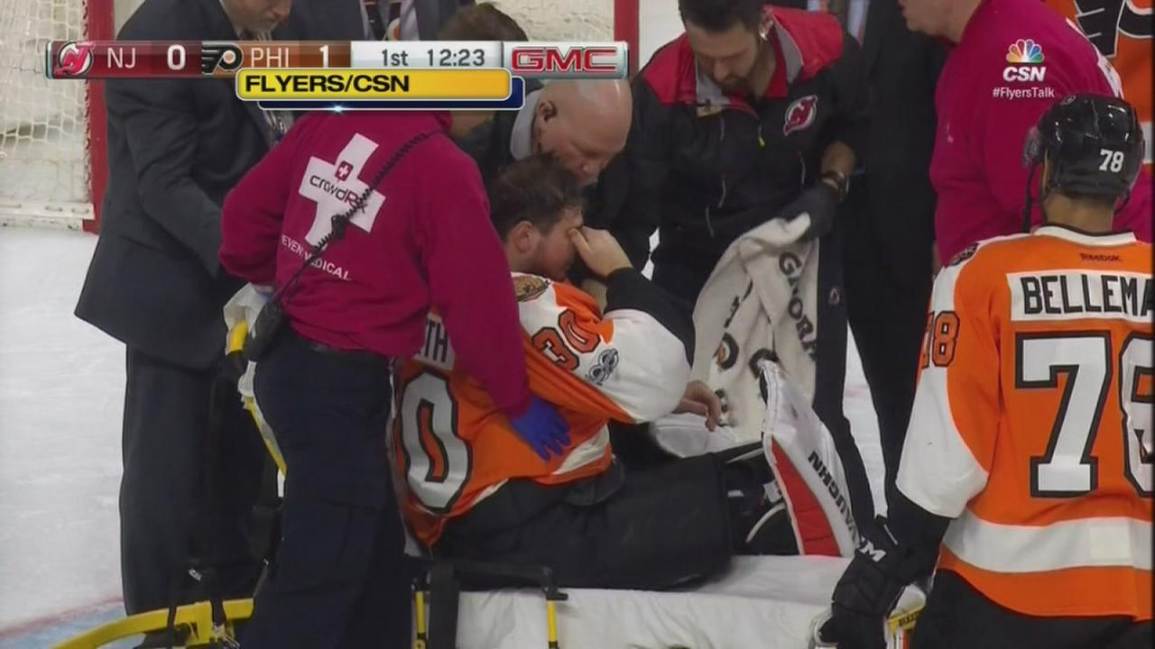 Flyers goalie Michal Neuvirth collapses on ice during game
