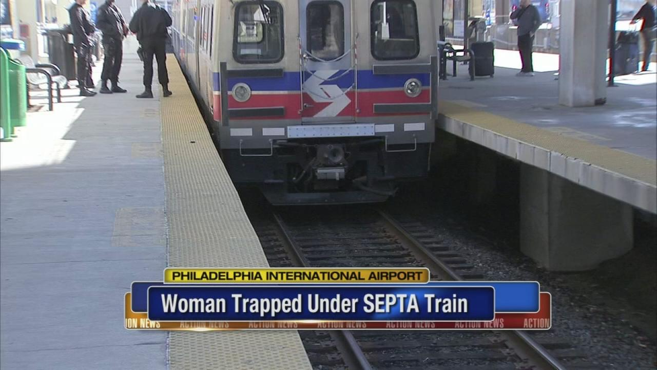 Woman freed from under SEPTA train at Philadelphia airport