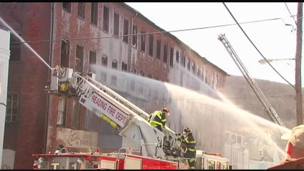 Firefighters battle 3-alarm warehouse fire in Reading